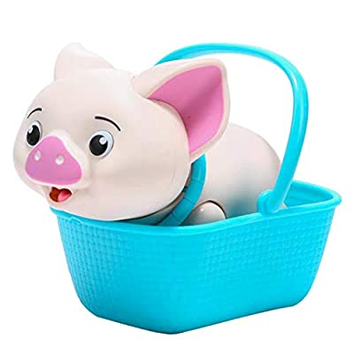 Haite Electronic Robot Pig Toy, Little Cute Pig Pet with Feeding Function,Soft Light and Pig Voice, Sitting in Basket,Best Present for Daughters,Girls,Boys, Toddlers,Kids (Pig)