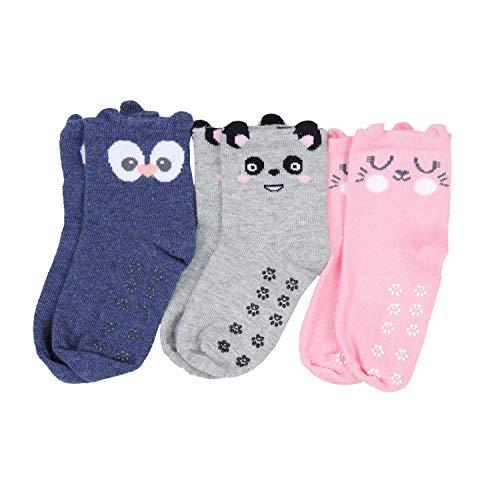 TupTam Baby Mädchen Socken Antirutsch Noppen 3er Pack Kleinkind ABS Antirutschsocken, Farbe: Farbenmix 1, Socken Größe: 24-26