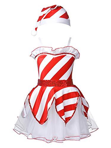 TiaoBug Vestido de Tut Tirantes para Nias Vestido de Tul de Princesa Infantil con Cintura Lentejuelas para Nias (1-12 aos) Disfraz Duende Miss Santa Navidad Blanco&Rojo 7-8 aos