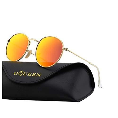 GQUEEN Vintage Runde Verspiegelte Polarisierte Sonnenbrille mit UV400 Schutz MFF7