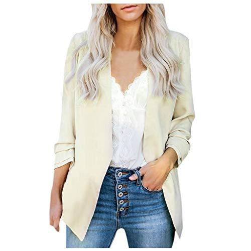 Xmiral Blazer Strickjacke Damen Einfarbig Kein Knopf Arbeit Büro Anzug Mantel Formell Übergröße Jacke Tasche Langarm Weich Atmungsaktiv Tops(Khaki,XL)