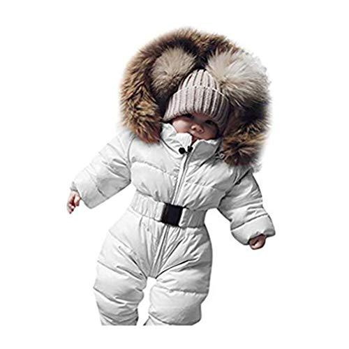 Robemon✬Hiver Blouson Bébé Manteau Fourrure Chaud Enfant Garçon Fille Doudoune à Capuche Épaissi Manches Longues Belle Bébé Cadeaux Ski Salopettes Outwear (Blanc, 70/9Mois)