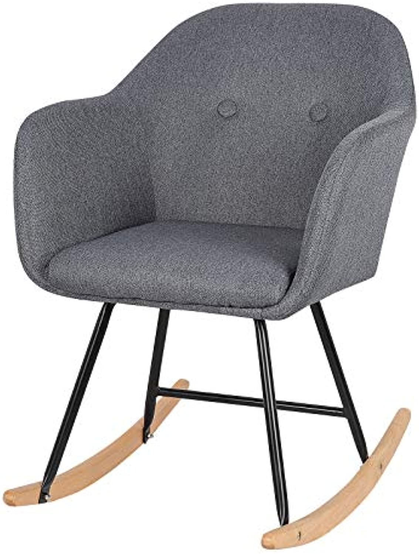 SITU SRC0001 Schaukelstuhl Schwingsessel Relaxstuhl Schaukelsessel Sessel Leinen Stahl Holz Dunkelgrau