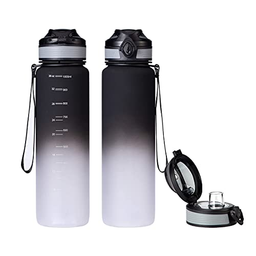 UPSTYLE 36oz Sports Water Bottle,Tritan BPA-Free Leak Proof Lid with Infuser for Outdoors Camping Cycling Fitness Gym Yoga Kids Adults One Hand Open Drink Bottles (Black White, 36oz/1000m)