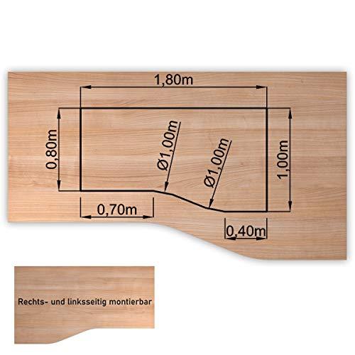 Bümö® stabile Tischplatte 2,5 cm stark - DIY Schreibtischplatte aus Holz   Bürotischplatte belastbar mit 120 kg   Spanholzplatte in vielen Formen & Dekoren  Platte für Büro, Tisch & mehr (Freiform: 180 x 100 cm, Nussbaum)