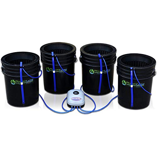 Deep Water Culture (DWC) Hydroponic Bubbler Bucket Kit by PowerGrow Systems (4) 5 Gallon - 10' Buckets
