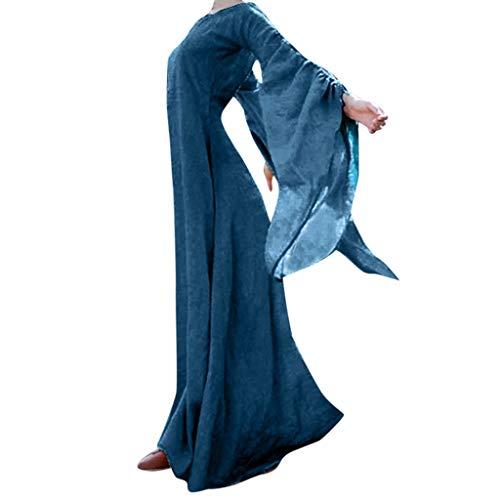 Writtian Damen Spukhaus Stil Bodenlanges Kleid Halloween Kürbis Teufel Rundhals Individualitäl Cosplay Kostüm Mittelalter Vintage Maxikleid