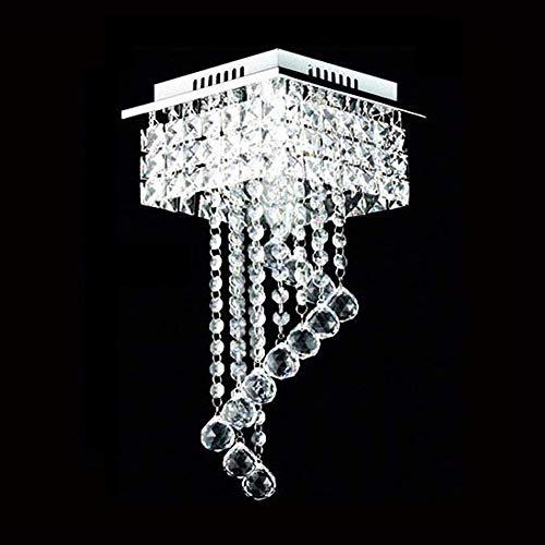 Atc Crystal Ceiling Light Fixture Flush Mount Pendant Lighting Chandelier Square Chrome Frame Globular Crystal Hangings Lamps For Hotel Hallway Decor Wantitall