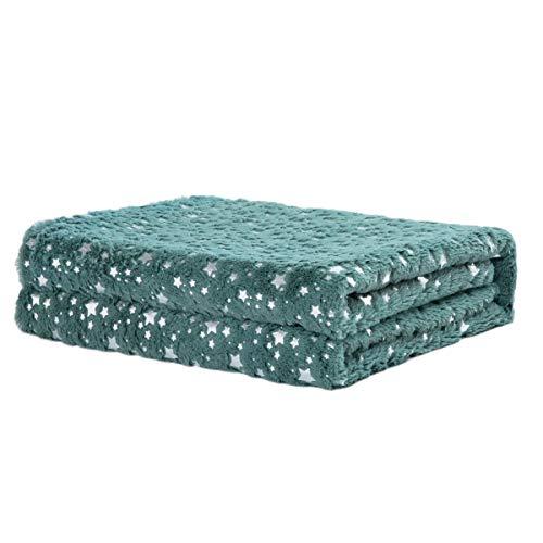 Rendiele Mantas supersuaves de forro polar PV, pequeñas estrellas estampadas, mullidas y cálidas mantas navideñas para sofá y cama, 140 x 180 cm