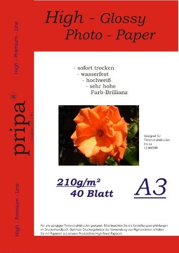 pripa A3 40 Blatt Fotopapier Photopapier DIN - A 3-210g/qm - Glossy Glanz - sofort trocken - wasserfest - hochweiß - sehr hohe Farbbrillianz Fuer Inkjet Drucker