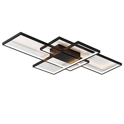LED Deckenleuchte Deckenlampe Dimmbar mit Fernbedienung Modern Ring Rechteck Design Decken Licht für Wohnzimmer Schlafzimmer Küche Esszimmer Büro Halle Treppe Wandleuchte Beleuchtung, Schwarz, L105CM