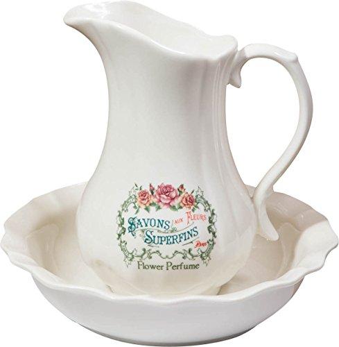 Biscottini Set da Toilette Savon Superfins in Porcellana per Lavabo Bagno Antico Bianco, Decorata