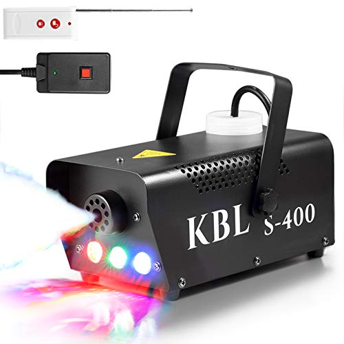 Fog Machine,Kabila Potable Smoke Machine with LED Lights(Red,Green,Blue),400W Fog with Wireless and Wired Remote Control for Halloween Wedding Parties Stage&Environmental Disinfection