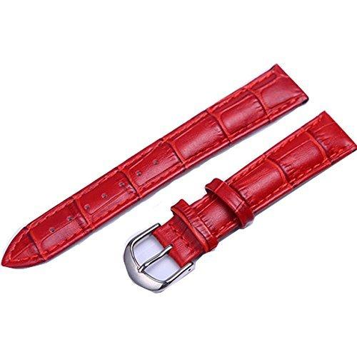 kolight Durable antitranspirante Dark-Red 18mm de Piel auténtica Hebilla Correa de Reloj Banda Pulsera Regalos