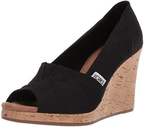 TOMS womens Classic Espadrille Wedge Sandal Black Scattered Woven 9 5 US product image