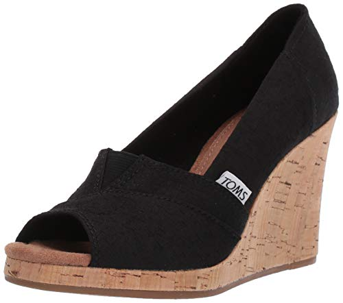 TOMS Women's Classic Espadrille Wedge Sandal, Black Scattered Woven, 8