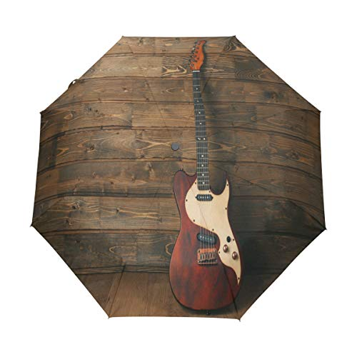 RXYY Vintage Guitarra Eléctrica en Madera Plegable Auto Open Close Paraguas para...