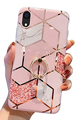 """Qokey Compatible with iPhone XR Case,Marble Case Cute Fashion for Men Women Girls with 360 Degree Rotating Ring Kickstand Soft TPU Shockproof Cover Designed for iPhone XR 6.1"""" Rhombic Marble"""