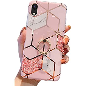 "Qokey Compatible with iPhone XR Case,Marble Case Cute Fashion for Men Women Girls with 360 Degree Rotating Ring Kickstand Soft TPU Shockproof Cover Designed for iPhone XR 6.1"" Rhombic Marble"