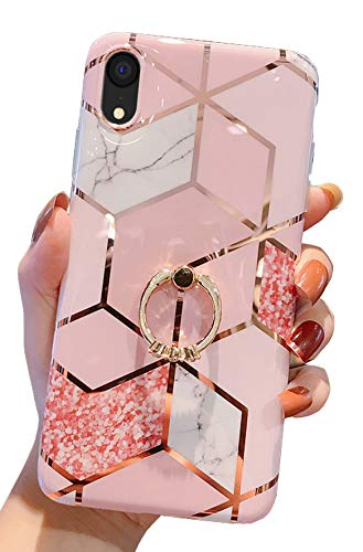 Qokey Case Compatible with iPhone XR Case 6.1 inch Marble Case Cute Fashion for Women Girls with 360 Degree Rotating Ring Kickstand Soft TPU Shockproof Cover Rhombic Marble