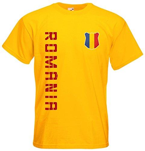 Rumänien Romania T-Shirt Name Nummer Fanshirt Trikot EM-2021 Gelb XXL