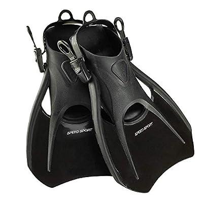 Phantom Aquatics Snorkel Fins, Swim Fins Travel Size Short Adjustable for Snorkeling Diving Adult Men Women Kids Open Heel Swimming Flippers + Net Carry Bag…