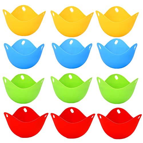 behone 12 Piezas Escalfador de Huevos, Utensilio para Huevos Escalfados, Molde para Escalfar Huevos, Cazador Furtivo de Huevos de Silicona, para Cocinar Huevos Escalfados Perfectos(4 Colores)