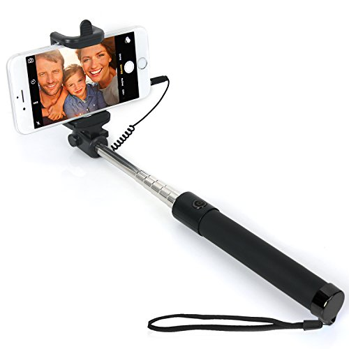 Selfie Stick Extendable Supreme All in One Wire Selfie Stick for iPhone 6, iPhone 5S, Samsung Galaxy S6 S5, Android (Black)