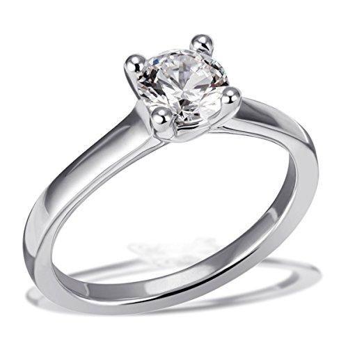 Goldmaid Ring Solitär 4er Stotzen Verlobung, Trauung, 18 Karat Gelbgold 1 Brillant Lupenrein weiß 1,00 ct. Inkl. externer Expertise