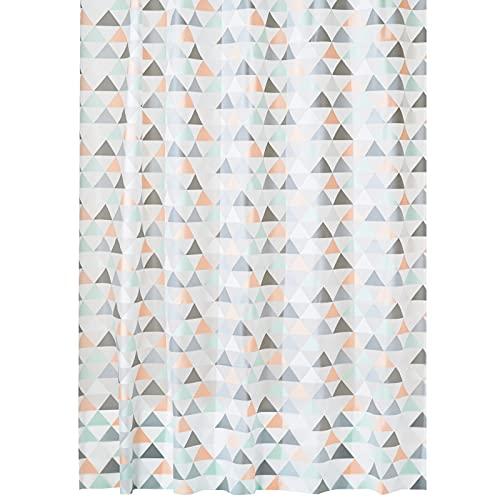 mDesign Cortina de baño con diseño de triángulos – Cortinas de Ducha con Medidas 183 cm x 183 cm – Cortina de Ducha con 12 Ojales metálicos – Durables y sin PVC – Coral/Menta