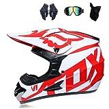 HANGYUN Casco de motocross juvenil, para motocross, BMX, MX ATV, para niños, niñas, Offroad, mountain bike, estilo racing, incluye guantes, máscara, rojo, L
