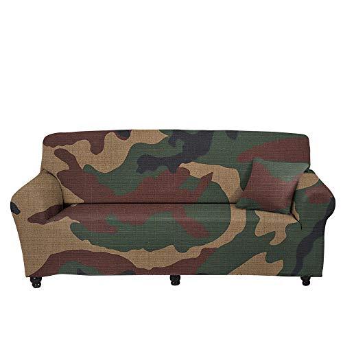 CC.Stars Funda Cubre Sofá Fundas de Sofá,Funda de sofá de Camuflaje 3D, cojín de sofá elástico Completo, Cubierta de Polvo de combinación de Tela, Toalla de sofá-Color1_145-185cm