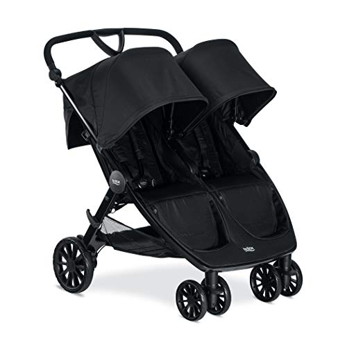 Britax B-Lively Double Stroller - Up to 100 pounds - Car Seat Compatible - UV 50Plus Canopy - Adjustable Handlebar - Easy Fold, Raven