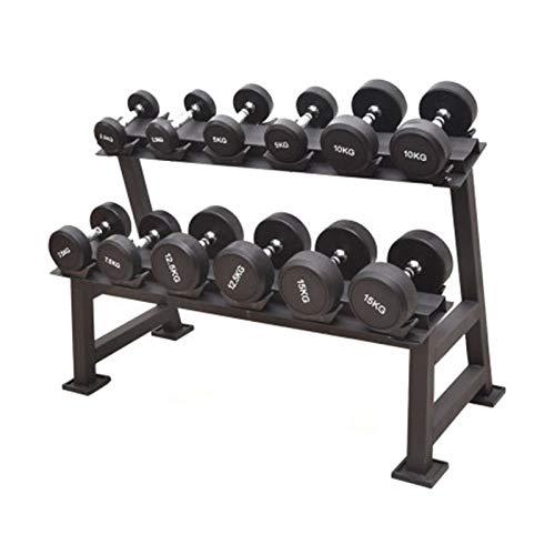 CHENSHJI 2 Stufe Metallstahl Home Workout Gymnastik Dumbbell Gewichtsregler Lagerständer (Farbe : Black, Size : 2 Tier)