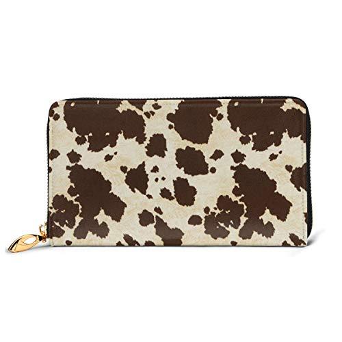 Big Cow Fur Print Pattern Wallets For Men Women Long Leather Checkbook Card Holder Purse Zipper Buckle Elegant Clutch Ladies Coin Purse