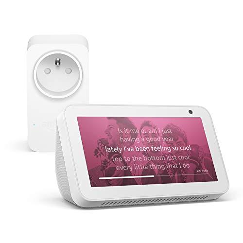 Echo Show 5, Blanc + Amazon Smart Plug (Prise connectée WiFi), Fonctionne avec Alexa