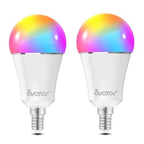Smart LED Lampen E14, Alexa Wlan Glühbirne 9W Dimmbar Licht 16 Millionen Farben Kein Hub Erforderlich Kompatibel mit Alexa/Google Home by Avatar Controls(2 Pack)