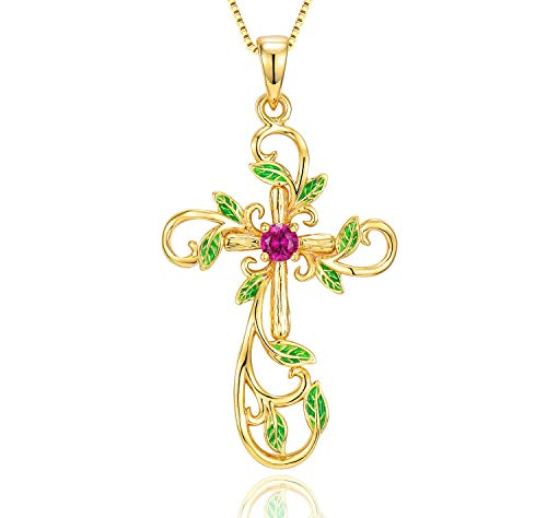 Klurent Life Tree Pendant Necklace Jewelry Gift for Women, Entwined Ruby Diamond - Blessing Love for Wife/Mother/Girlfriend on Birthday Anniversary Mothers Day Use, 14K Gold Plated