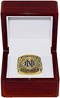 NOTRE DAME FIGHTING IRISH (Lou Holtz) 1988 BCS NATIONAL CHAMPIONS (Trust & Love) Vintage Rare & Collectible Replica NCAA Football Gold Championship Ring with Cherrywood Display Box