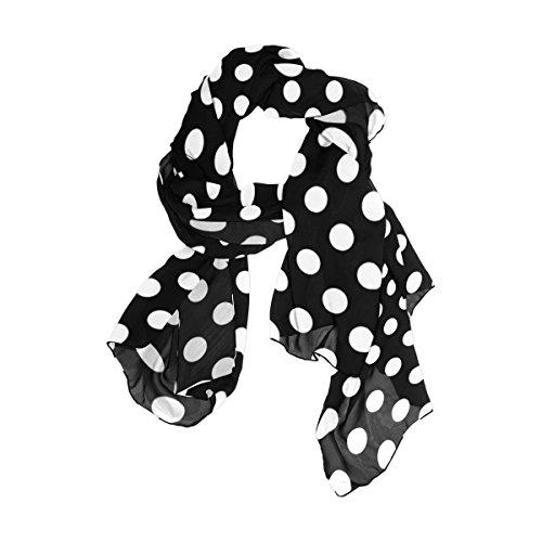 Cooper girl Black White Polka Dot Silk Scarf Shawl Wrap for Women Girls