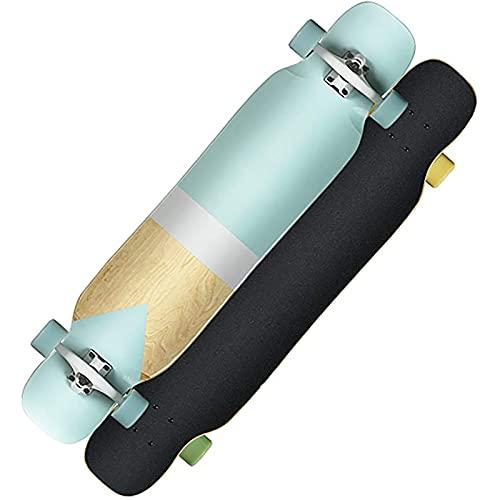 Freestyle Drop-Through Longboard Skateboard Cruiser, (nordisches Minimalistisches Muster) 44 Zoll Bambus + Maple Deck Skateboard Last Bis Zu 400 Pfund Für Cruising Carving Free-Style Und Downhill