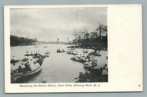 ASBURY PARK NJ DEAL LAKE CANOE RACES ANTIQUE POSTCARD