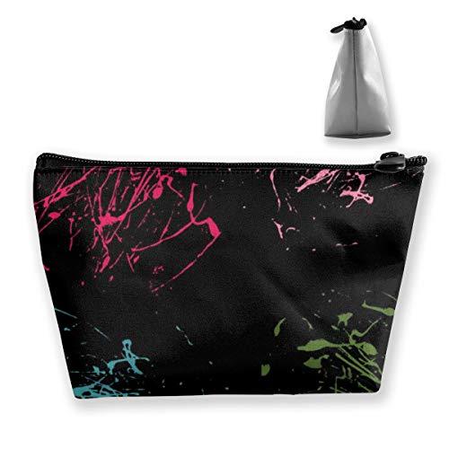 Color Splatter pintura abstracta sobre fondo negro bolsa de maquillaje portátil de tren de maquillaje caso para mujeres cosméticos, estuche organizador de almacenamiento