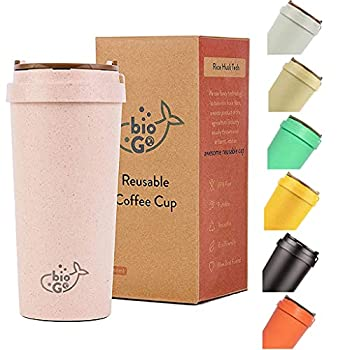 bioGo Cup Rice Husk Fibre BPA-Free Double Wall Insulation Reusable Coffee Cups On-The-Go Travel Mug Screw Tight Lid Textured Grip Ultra Lightweight  Faded Pink 16oz