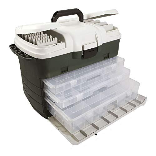 Lineaeffe Mallette Green 59 x 29 x 37 cm Boîte de Pêche Msllette Rangement Accessoire Leurre Hameçon Tackle Box Plastique