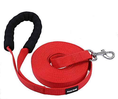 HAPPY HACHI Schleppleine Geflochten Hundeleine führen Lange Seil Nylon Gurtband Recall Ausbildungsleine Leine für Pet (XL-16m, Rot-gepolstert)