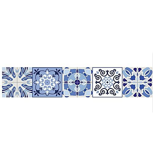 Pegatinas de azulejos retro azul patrón tiras impermeables pegatinas de pared DIY autoadhesivas extraíbles retro cuadrados para decoración de muebles de cocina baño 20 x 100 cm x 1 pieza