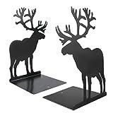 Powcan 1 par Heavy Duty Black Metal Bookends Moda Elk Moose Design Divisores de libros Antideslizantes Duraderos Libros robustos Organizador para dormitorio Biblioteca Oficina Escolares Papelería