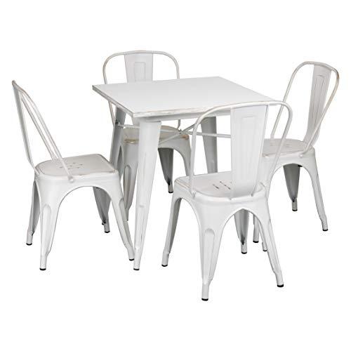 Totò Piccinni Set Industry in Metallo Design Industriale (Vintage Bianco, Tavolo e 4 Sedie)