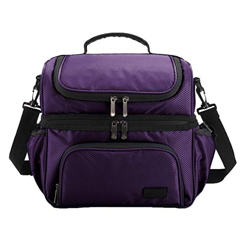 MarsBro Double Deck Insulated Lunch Box for Men Women Diamond Ripstop LargeTote Bag Cooler for Office Picnic School Work, Purple